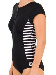 O&e Ladies Soul S/S Lycra Suit - Black/White Stripe