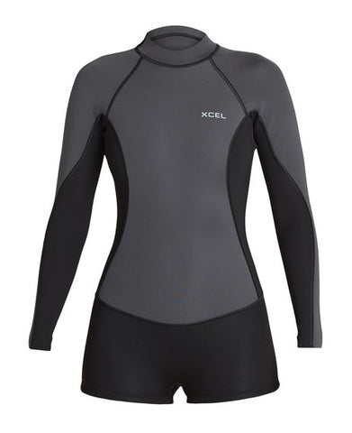 Xcel Ladies Premium Stretch L/S 6oz Rashvest - Gunmetal