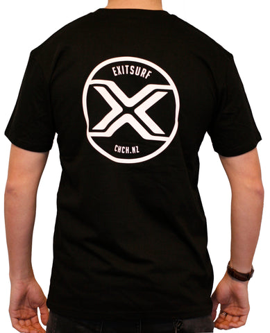 Exit Surf Icon Tee - Black w/ White Logo