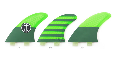 Captain Fin CF Medium Twin Tab Tri Fin Set