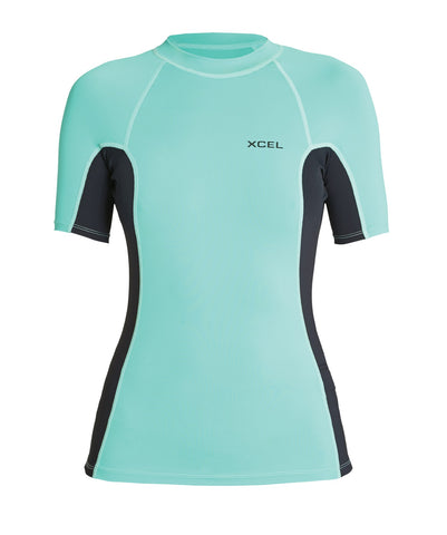 Xcel Ladies Premium Stretch S/S 60z Rashvest - Pistachio/Black