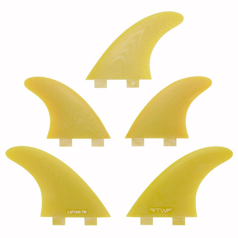 Captain Fin Tyler Warren 5 Fin Set Yellow - Twin Tab