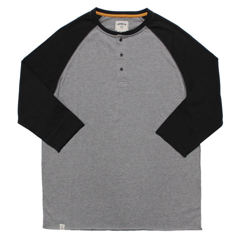 CAPTAIN FIN WILBERT LONGSLEEVE HENLEY - HEATHER GREY