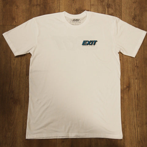 EXIT SURF 40 YEARS TEE - WHITE/TEAL