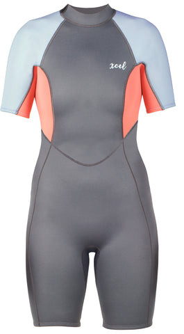 Xcel Ladies 2mm S/S Axis Springsuit - Gunmetal/Coral/Cotton