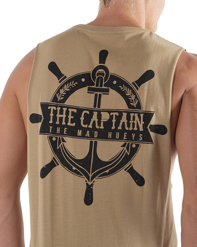 The Mad Hueys The Captain Wheel Muscle Tee - Tan