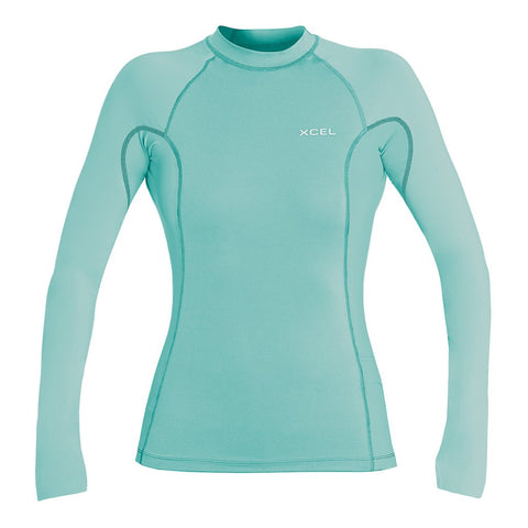 Xcel Ladies Premium Stretch L/S 6oz Rashvest - Faint Blue/Grapefruit