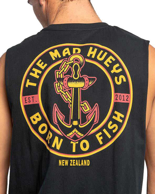 The Mad Hueys Born To Fish NZ Muscle - Black