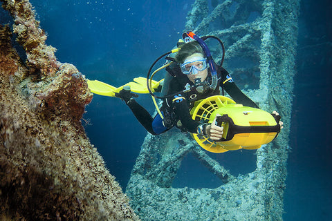 DPV diver on the oil rigs, California
