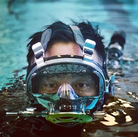 Diver with neutral buoyancy