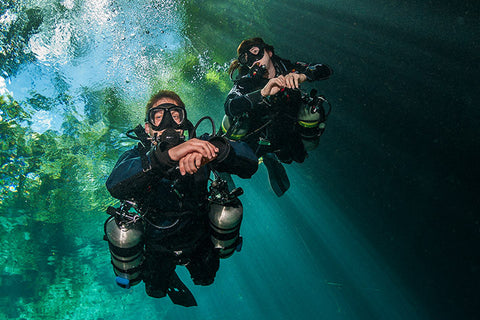 Sidemount divers in Catalina Island.