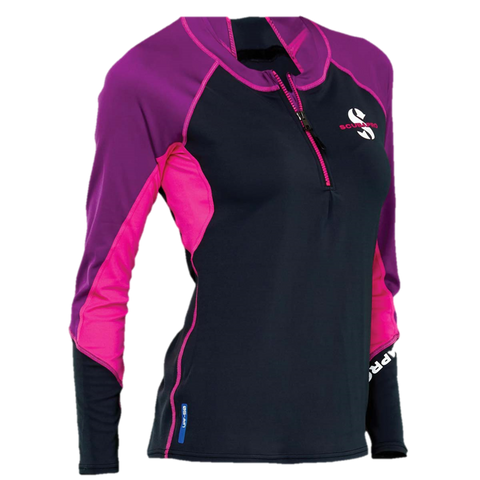 ScubaPro UPF 50 Zippered Channel Flow Women's Rash Guard - Pink/Purple/Black