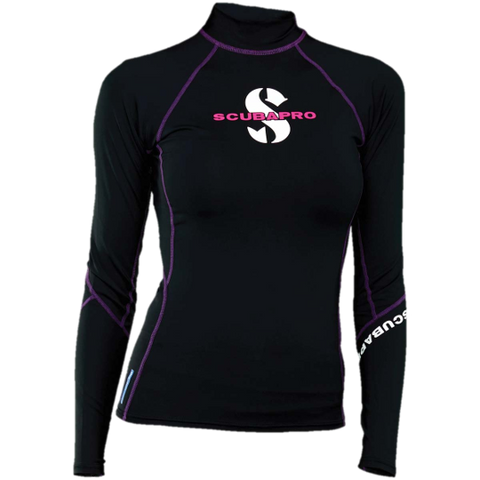 ScubaPro Onyx Rash T-Flex Womens, Long Sleeve (UPF80) - Black/Purple