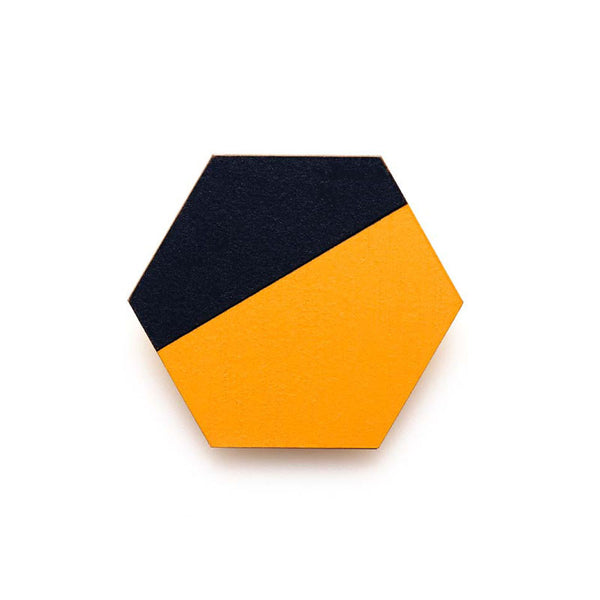 Hexagon Splice Brooch - Persimmon/ Indigo