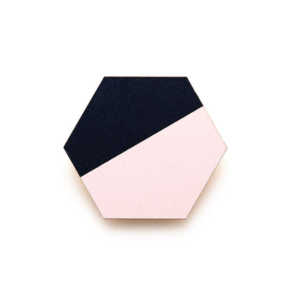 Hexagon Splice Brooch - Pink Mist/ Indigo