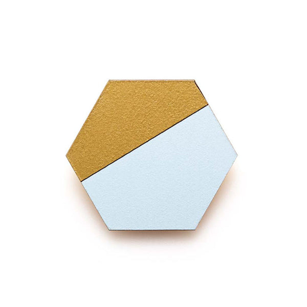 Hexagon Splice Brooch - Sky/ Gold