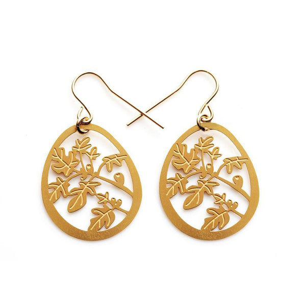 Gold Fig Tree Small Earrings