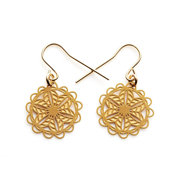 Gold Doily Small Earrings