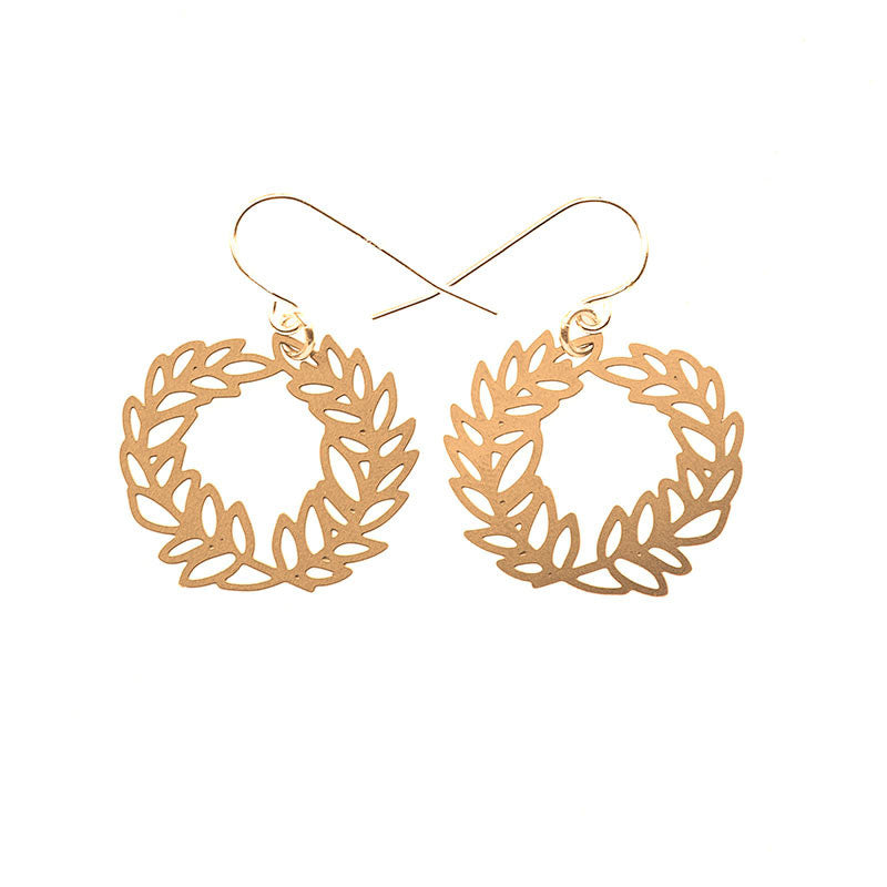 Gold Laurel Earrings