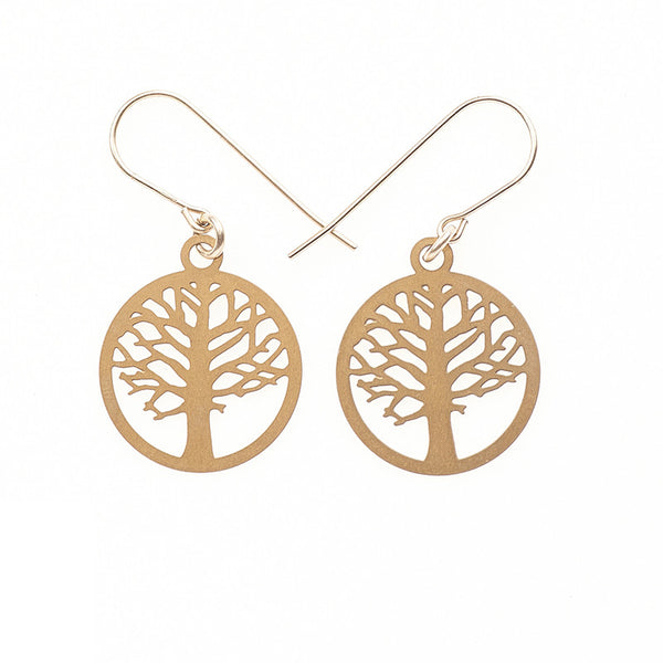 Gold Elm Tiny Earrings