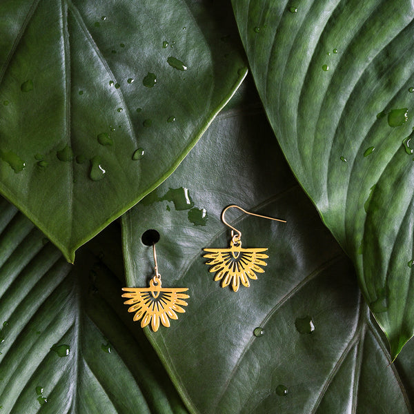 Gold Fan Palm Earrings