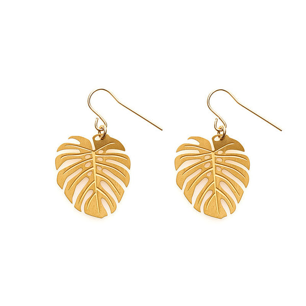 Gold Monstera Earrings