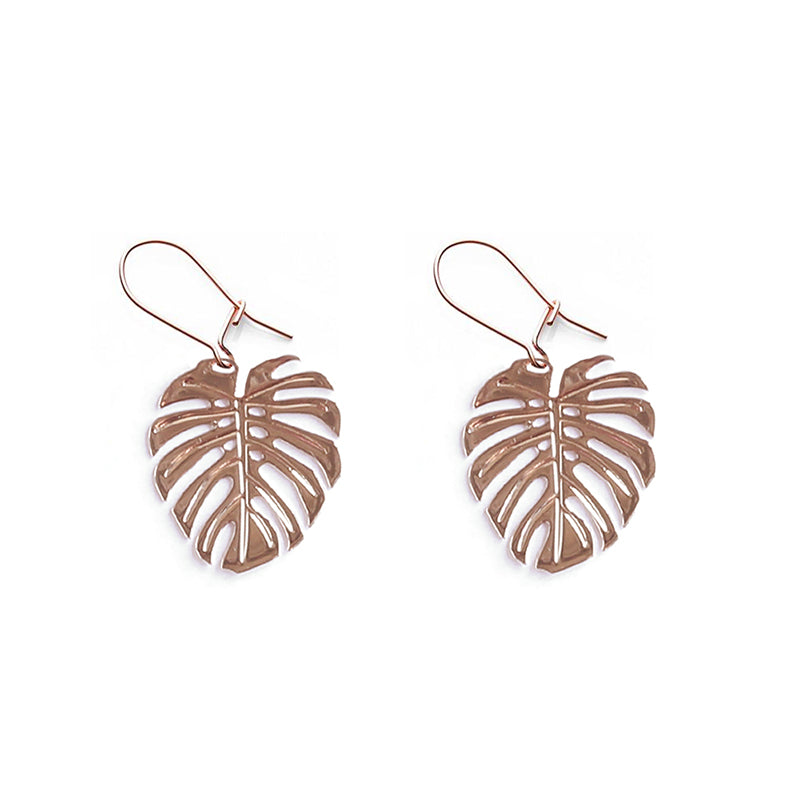Rose Gold Monstera Earrings - Limited Edition