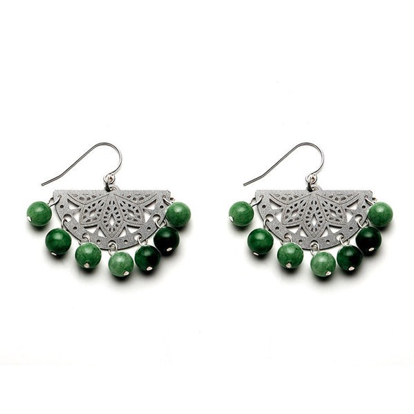 SS Paloma Beaded Earrings - Emerald