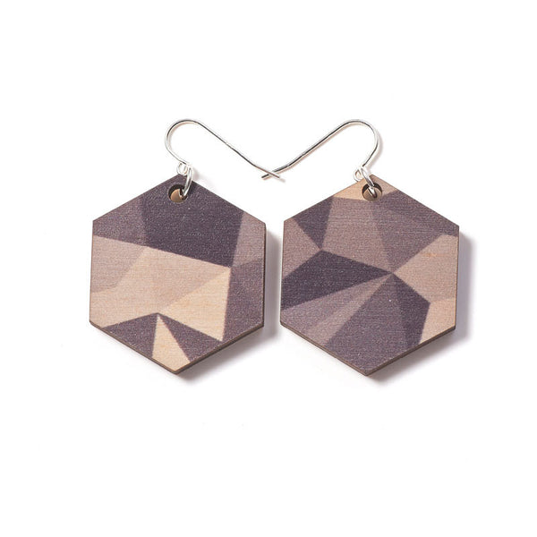 Fractal Medium Earrings - Greys
