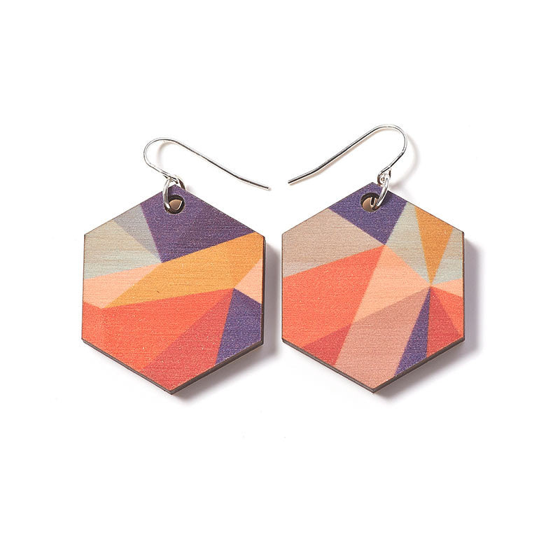 Fractal Medium Earrings - Autumn