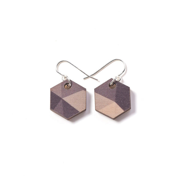 Fractal Small Earrings - Greys