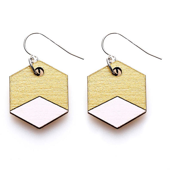 Hexagon Splice Earrings - Blush/ Gold