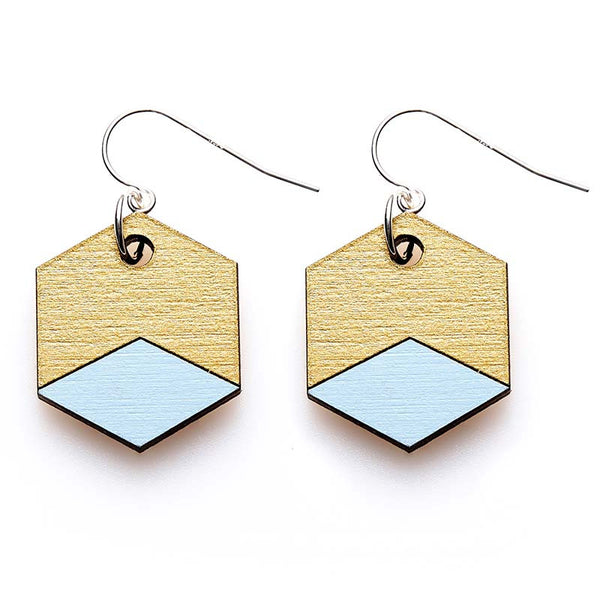 Hexagon Splice Earrings - Sky/ Gold