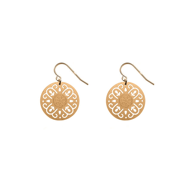 Gold Round Rosa Earrings - Limited Edition