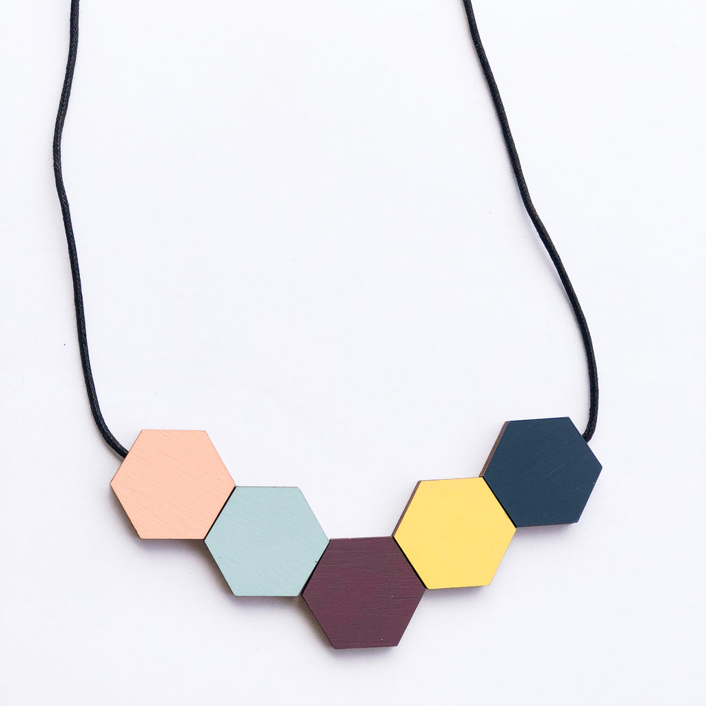 Hexagon Beads Necklace - Odette