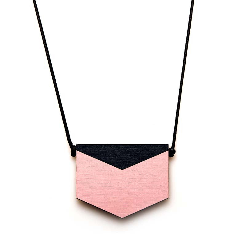 Splice Chevron Necklace - Pink Mist/ Indigo