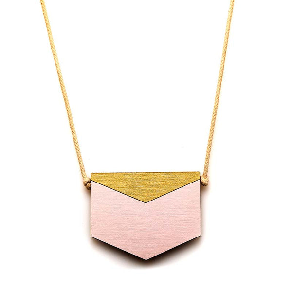 Splice Chevron Necklace - Blush/ Gold