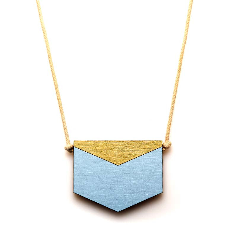 Splice Chevron Necklace - Sky/Gold