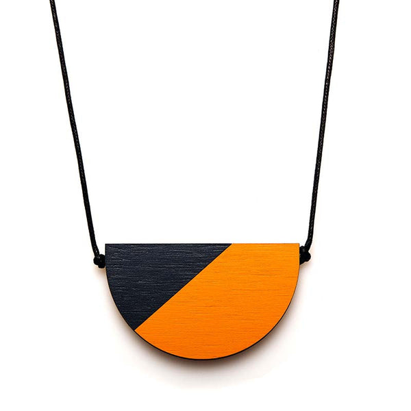 Splice Semi Necklace - Persimmon/ Indigo