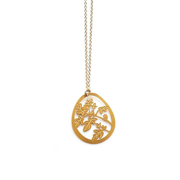Gold Fig Tree Small Pendant