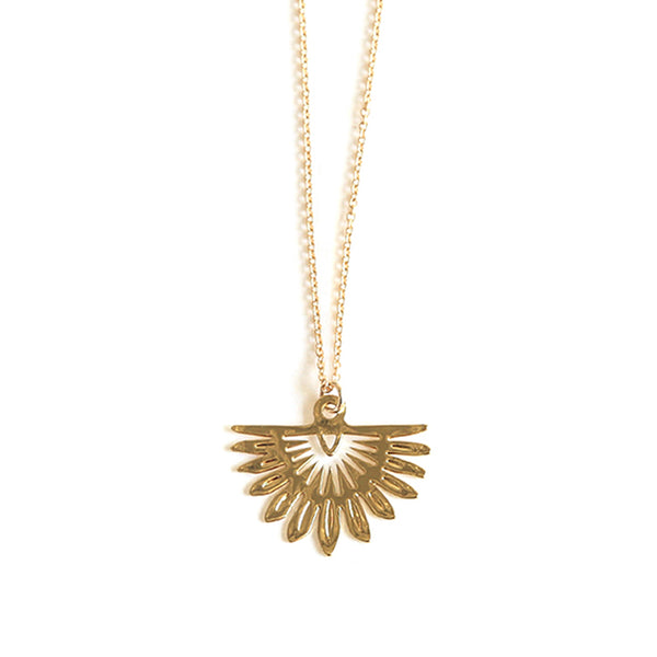 Gold Fan Palm Pendant