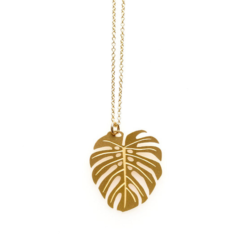 Gold Large Monstera Pendant -  Limited Edition