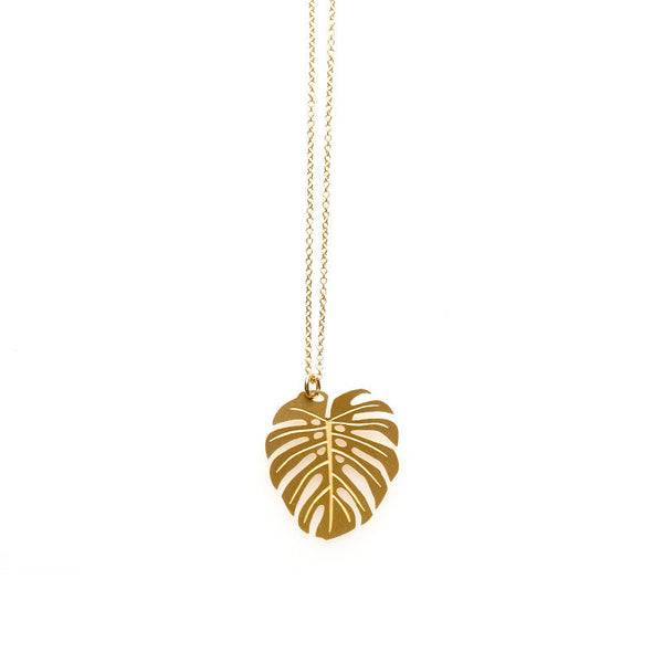 Gold Monstera Pendant