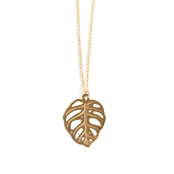 Gold Obliqua Monstera Pendant