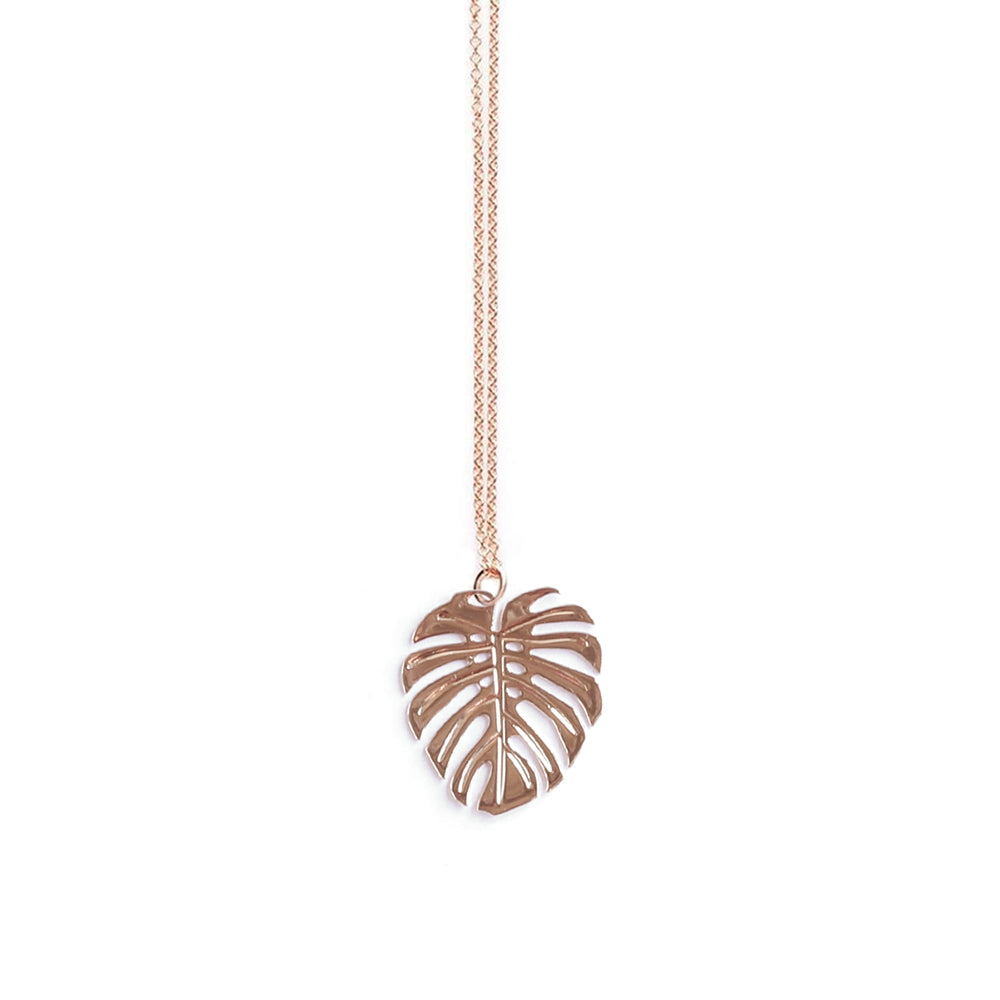Rose Gold Monstera Pendant