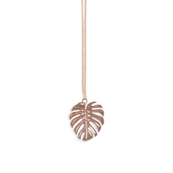 Rose Gold Large Monstera Pendant - Limited Edition