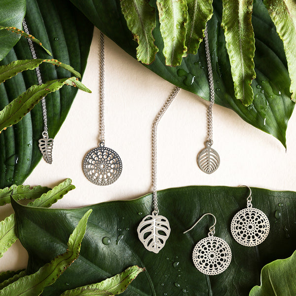 Stainless Steel Beech Leaf Pendant