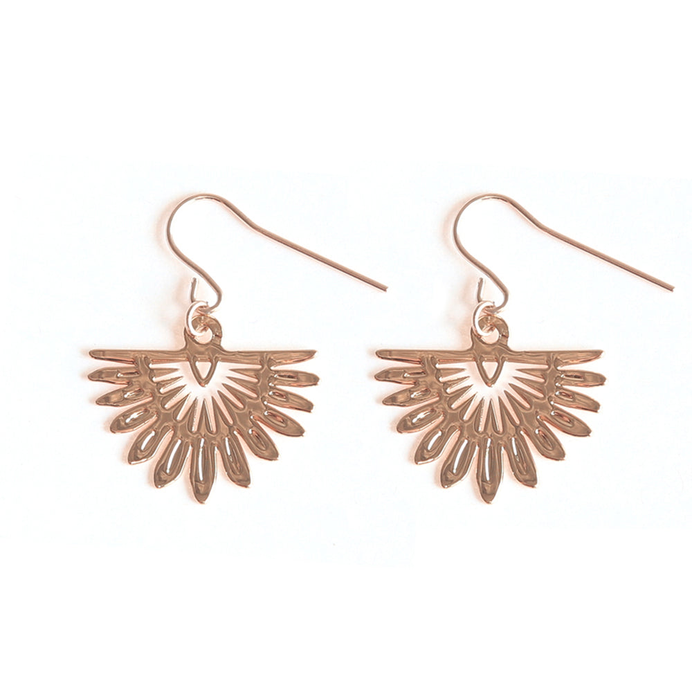 Rose Gold Fan Palm Earrings - Limited Edition