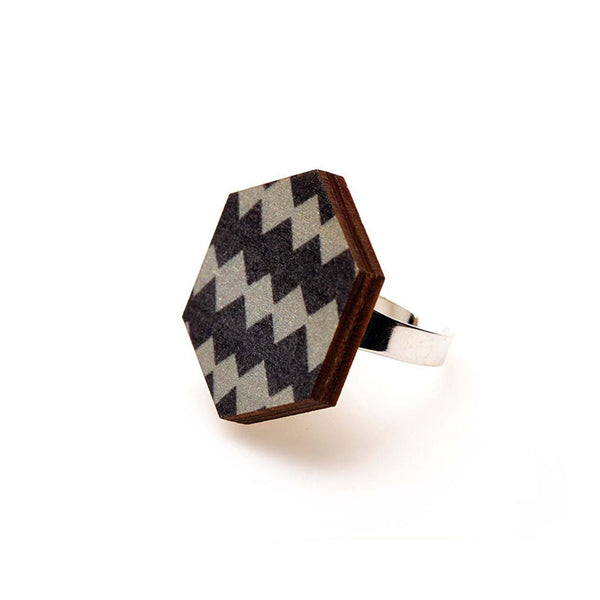 Copenhagen Ring - Grey Harlequin