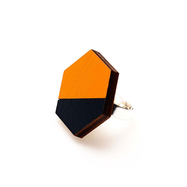 Hexagon Splice Ring - Persimmon/ Indigo